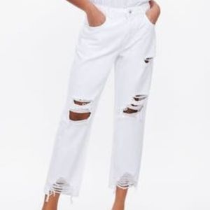 ZARA White Ripped Jeans